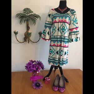 Moa Dress Aztec design Tq Pk Crm Sz 1X Dress